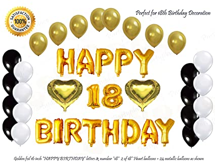golden happy 18th birthday decorations letters balloon set 16 inch gold letter mylar foil balloon