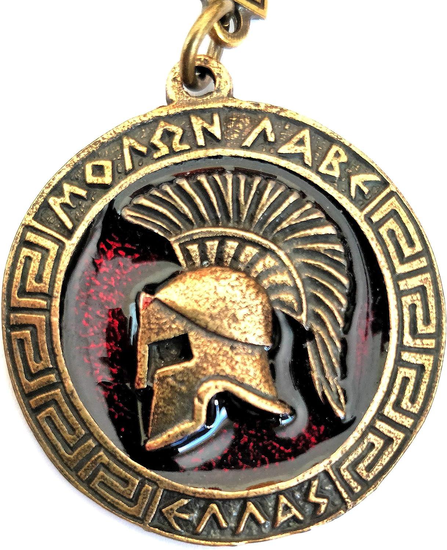 Iconsgr Schlüsselanhänger Ancient Spartan Battle Helm Coin Shield Schlüsselanhänger Movie 300 Rot Küche Haushalt