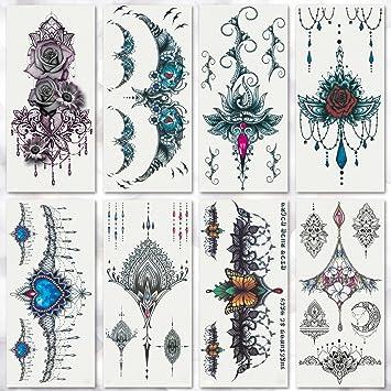 e3cbecf74de12 Amazon.com : Leoars 8 Sheets Sexy Colorful Temporary Tattoo Sticker Body  Henna Waist Breast Chest Mandala Tattoo Sticker for Women Lady Waterproof  Body Art ...