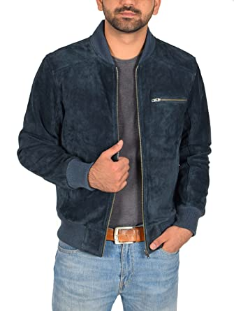 c21a5bbc Mens Classic Fit Baseball Genuine Soft Suede Leather Bomber Jacket Reg Blue