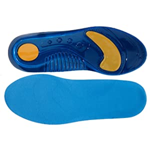 6.5-8 Pro11 wellbeing Massaging Insoles with Pressure Point Gel and Double Shock Absorbing Heel,Plantar Fasciitis/ Treatment Black