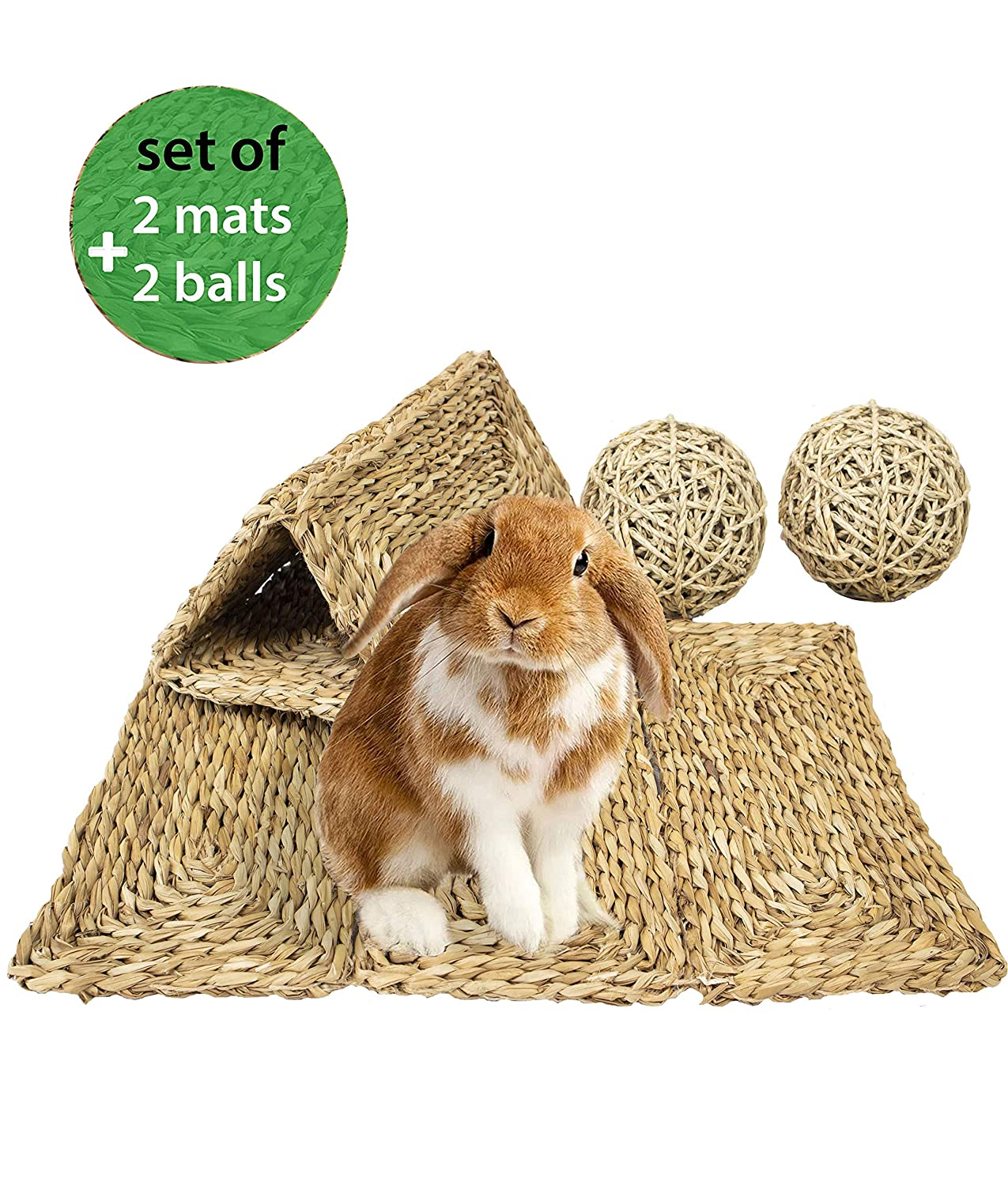 MadeTerra Grass Pet Mats and Balls for Bunny, Rabbit, Hamster, Guinea Pig, Chinchilla and Small Animals Woven Play Bedding and Chew Toys | Protect Paws from Wire Cage, Save Carpet and Furniture