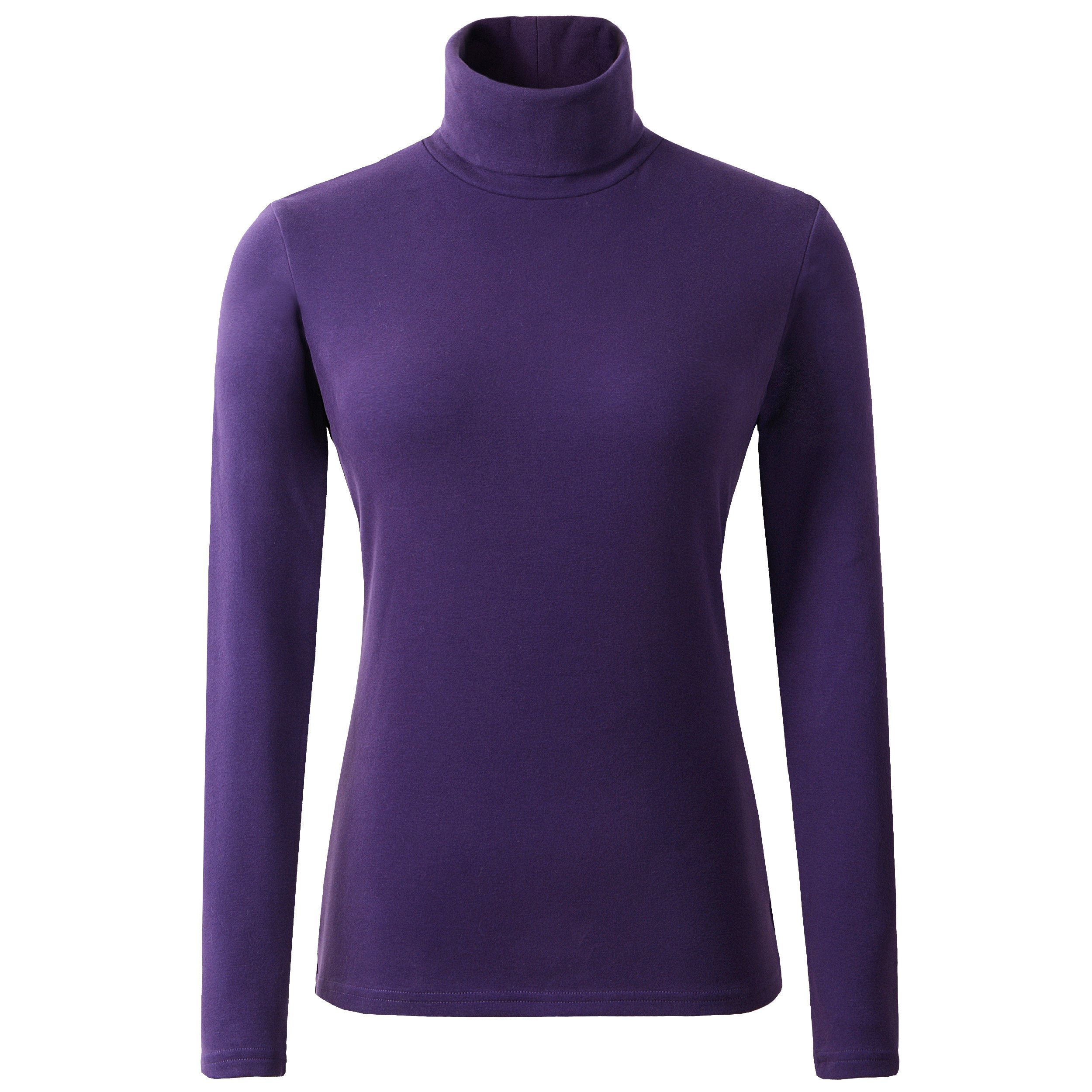 HieasyFit Women's Soft Cotton Turtleneck Top Basic Long Sleeve Pullover Violet M by HieasyFit