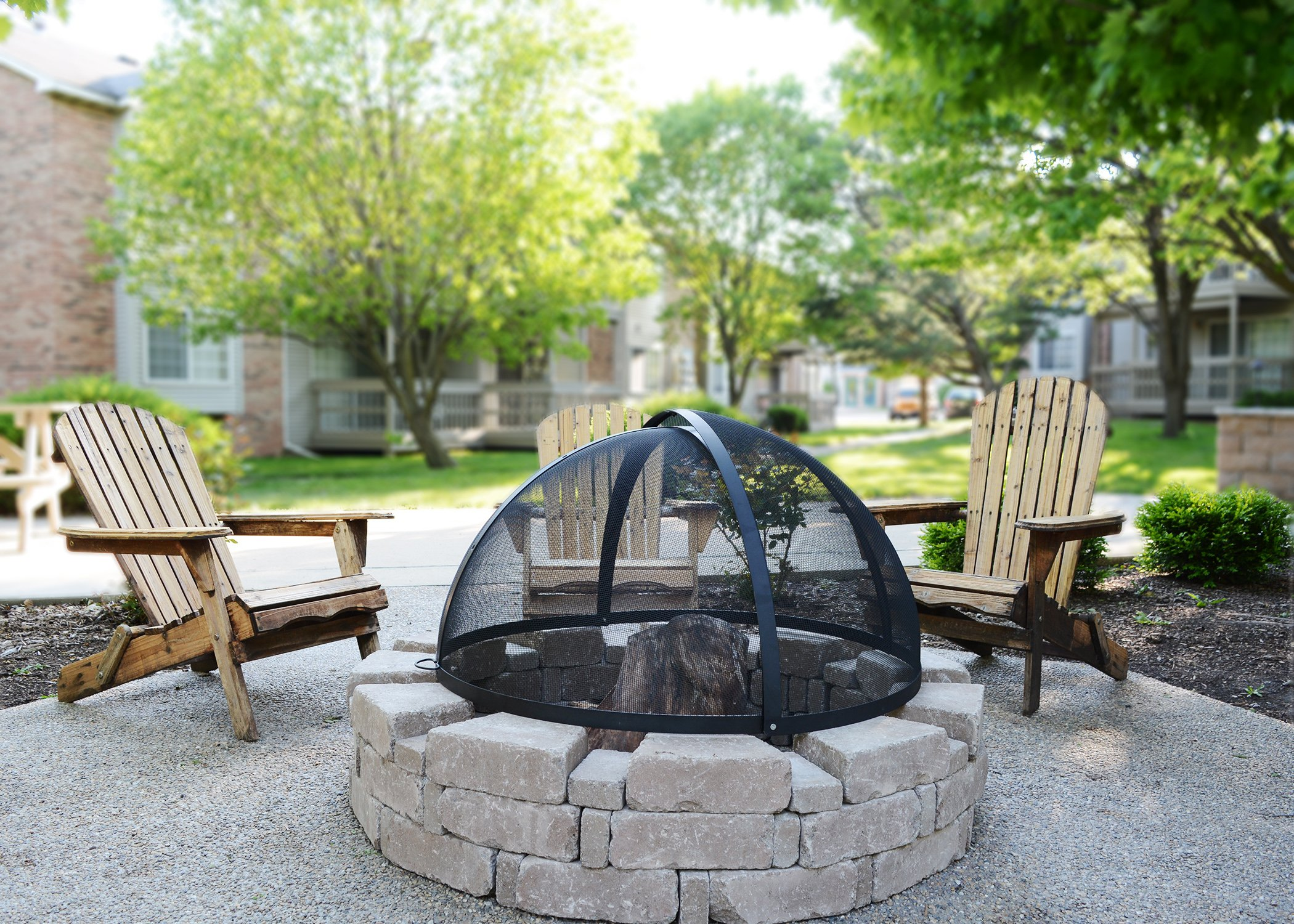 32-Inch Fire Pit Easy Access Spark Screen by Hampton's Buzaar (Image #7)