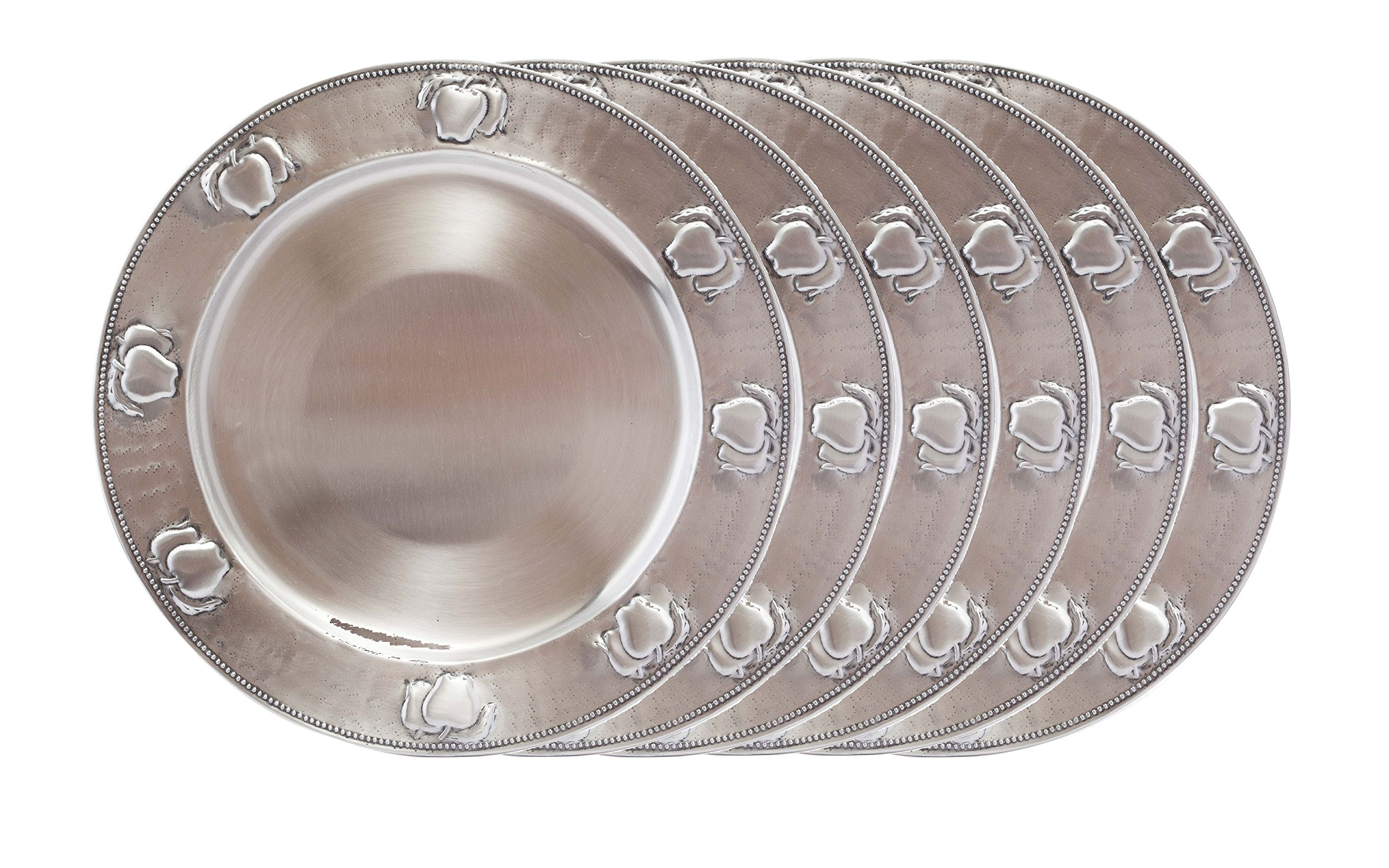 Old Dutch Antique Embossed Apple Charger Plates (Set of 6), Antique Pewter