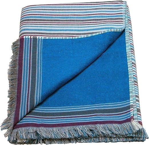 Grande 100% algodón doble cara toalla de playa pareo toalla de baño, diseño de rayas, color azul: Amazon.es: Hogar