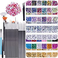 Duufin 6 Boxes Nail Art Rhinestones Bling Nail Crystal Jewelry 15 Pcs Nail Painting Brushes 5 Pcs Dotting Pen 1 Pc…