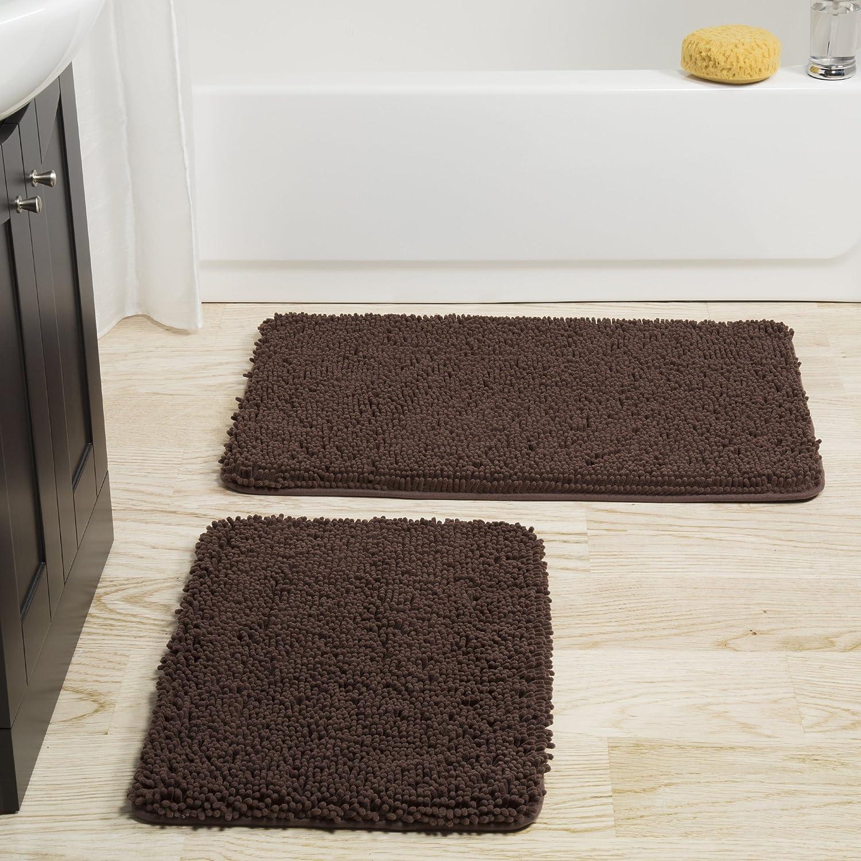 Lavish Home 2 Piece Memory Foam Shag Bath Mat Chocolate