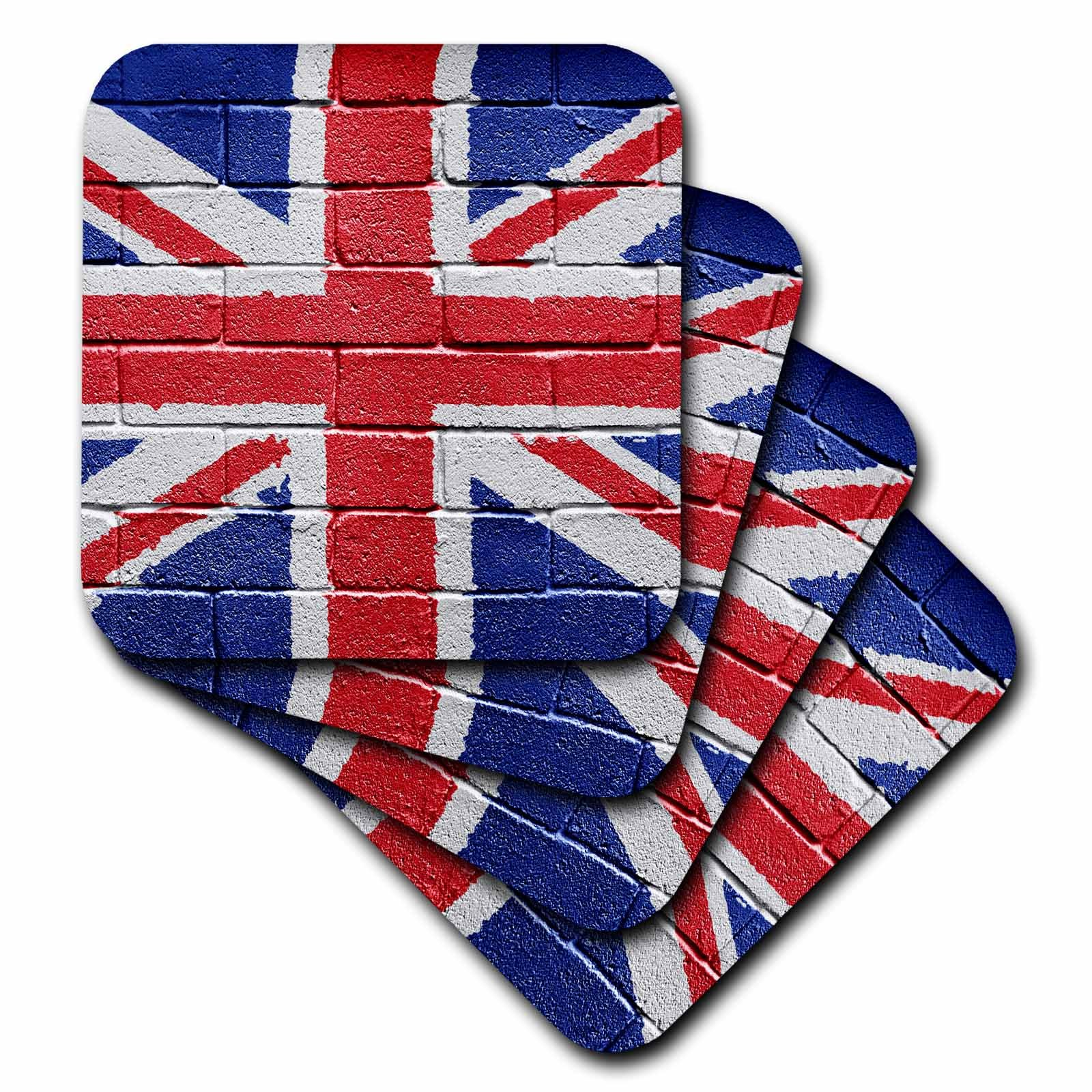 3dRose cst_155120_4 UK United Kingdom Great Britain British Flag on Brick Wall National Country Ceramic Tile Coasters, Set of 8