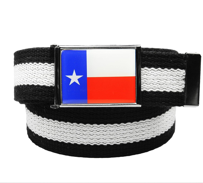 Build A Belt/® Texas Flag Flip Top Mens Belt Buckle with Canvas Web Belt