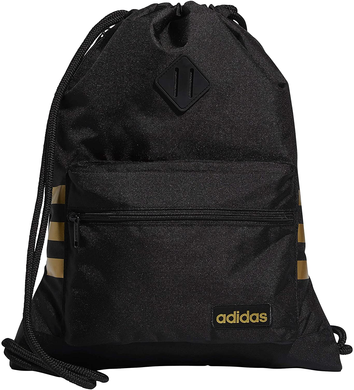 adidas Unisex Classic 3S Sackpack, Black/Gold, ONE SIZE