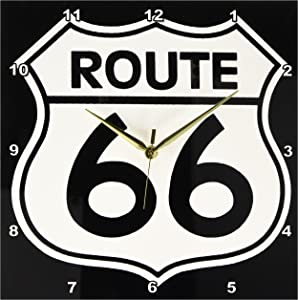 3dRose DPP_110012_2 Route 66, Black and White Wall Clock, 13 by 13-Inch