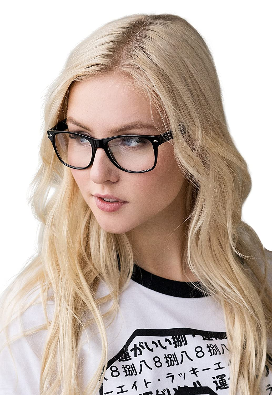 Clear Lens Glasses Geek Nerd Cosplay Chunky Black Frame Retro Classic Vintage Style Eyewear Otaku Cute Kawaii Men's Women's Geeky Frames GKBLKF01