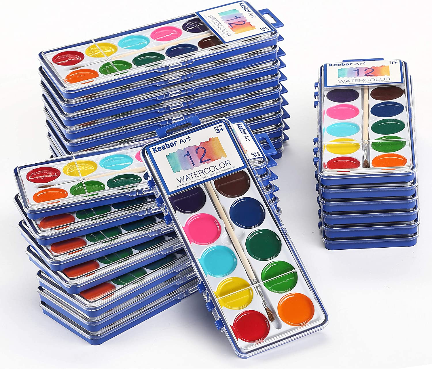 Amazon Com Keebor Basic 12 Colors Washable Watercolor Paint Bulk Set Of 24 With Wood Brushes For Kids Toys Games