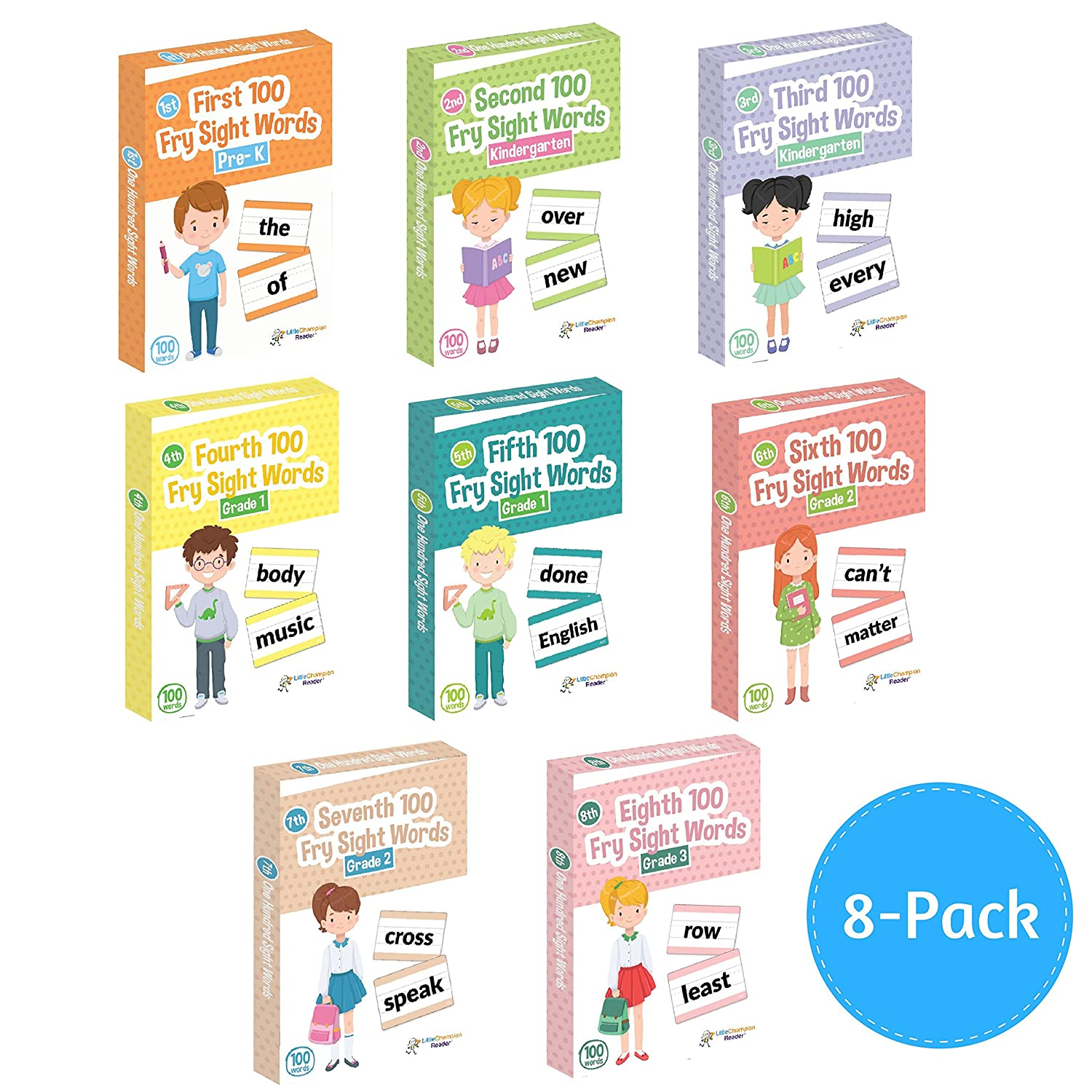 Little Champion Reader 800 Sight Word Flashcards in 8-Pack Bundle Set,  Pre-K to 3rd Grade, Teaches 800 Dolch Fry High-Frequency Sight Words