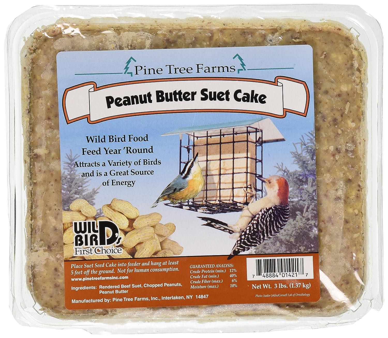 Pinetree Farms Pine Tree 1421 Peanut Butter Wild Bird Suet Cake, 3-Pound
