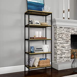 Lavish Home 5-Tier Bookshelf-Open Industrial Style Etagere Shelving Unit for Rustic Decoration, Storage and Display in Any Room, Black