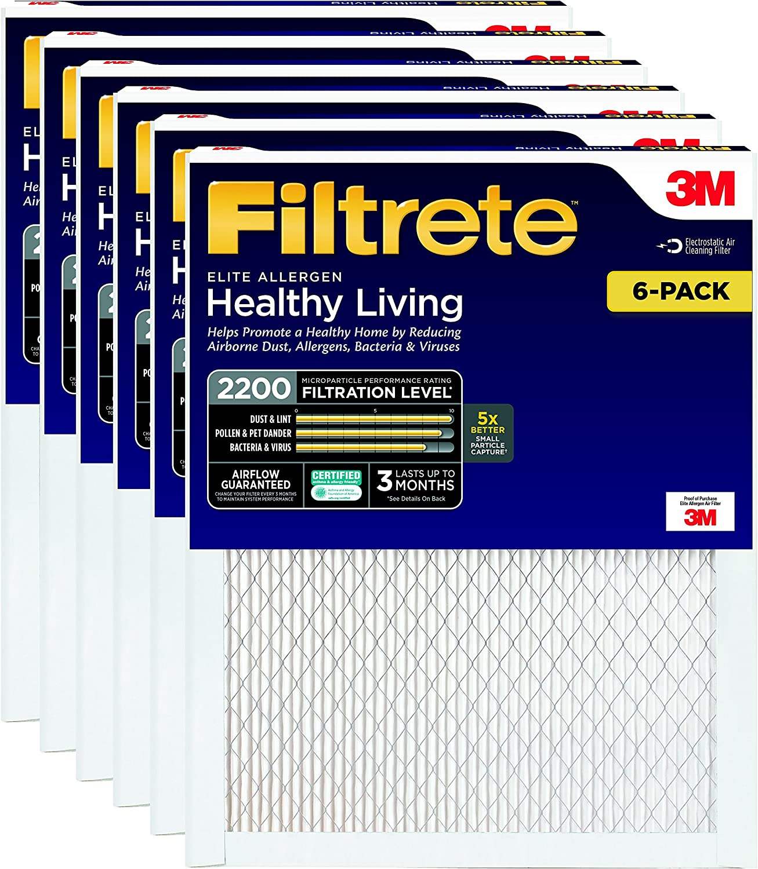 Filtrete MPR 2200 14 x 20 x 1 Healthy Living Elite Allergen Reduction AC Furnace Air Filter, 6-Pack