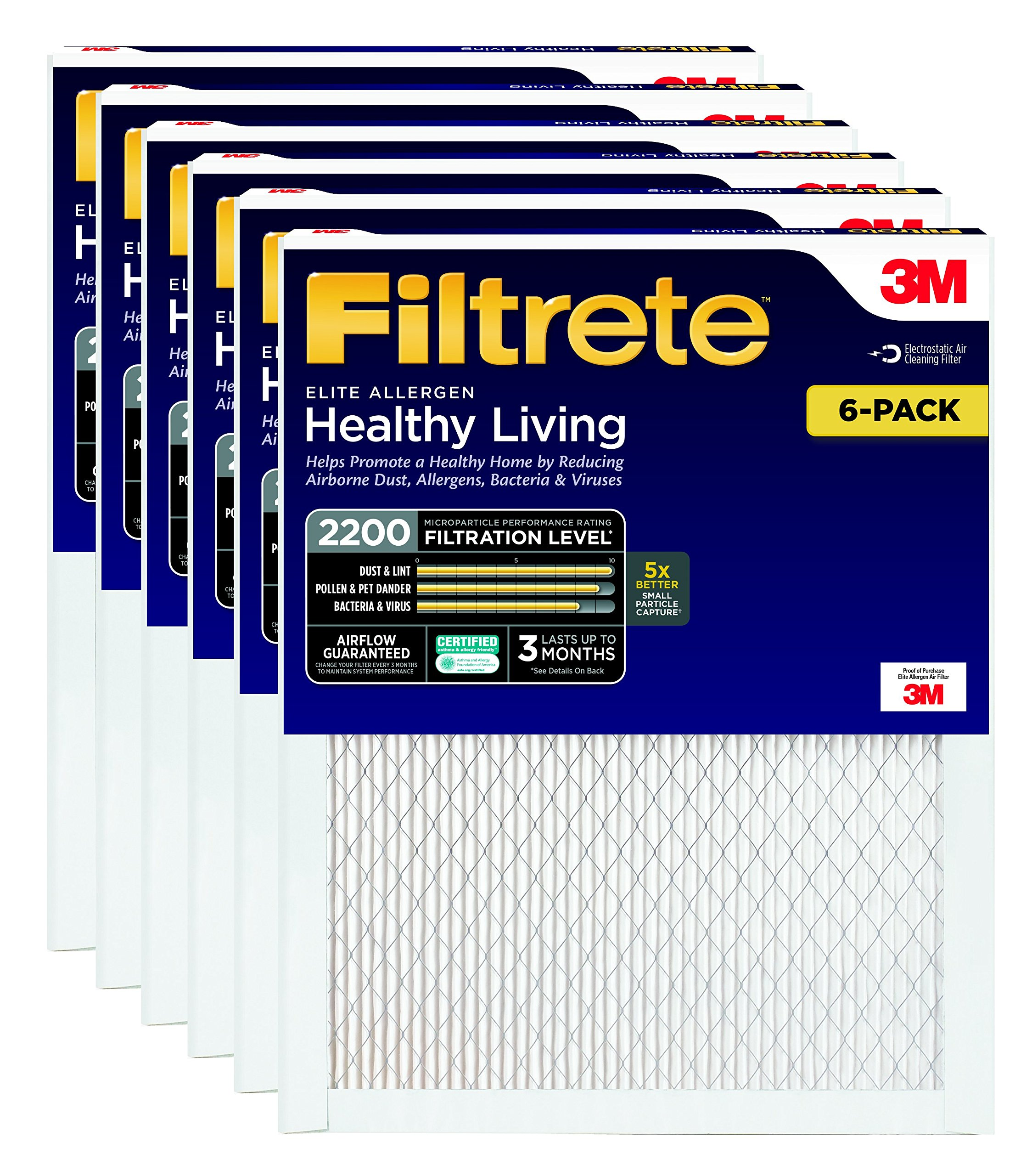 Filtrete MPR 2200 20 x 25 x 1 Healthy Living Elite Allergen Reduction HVAC Air Filter, 6-Pack