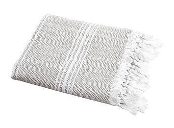 SALBAKOS Toalla de algodón ecológica increíblemente suave y espiga para spa, piscina, sauna y merienda de picnic Peshtemal Lino: Amazon.es: Hogar