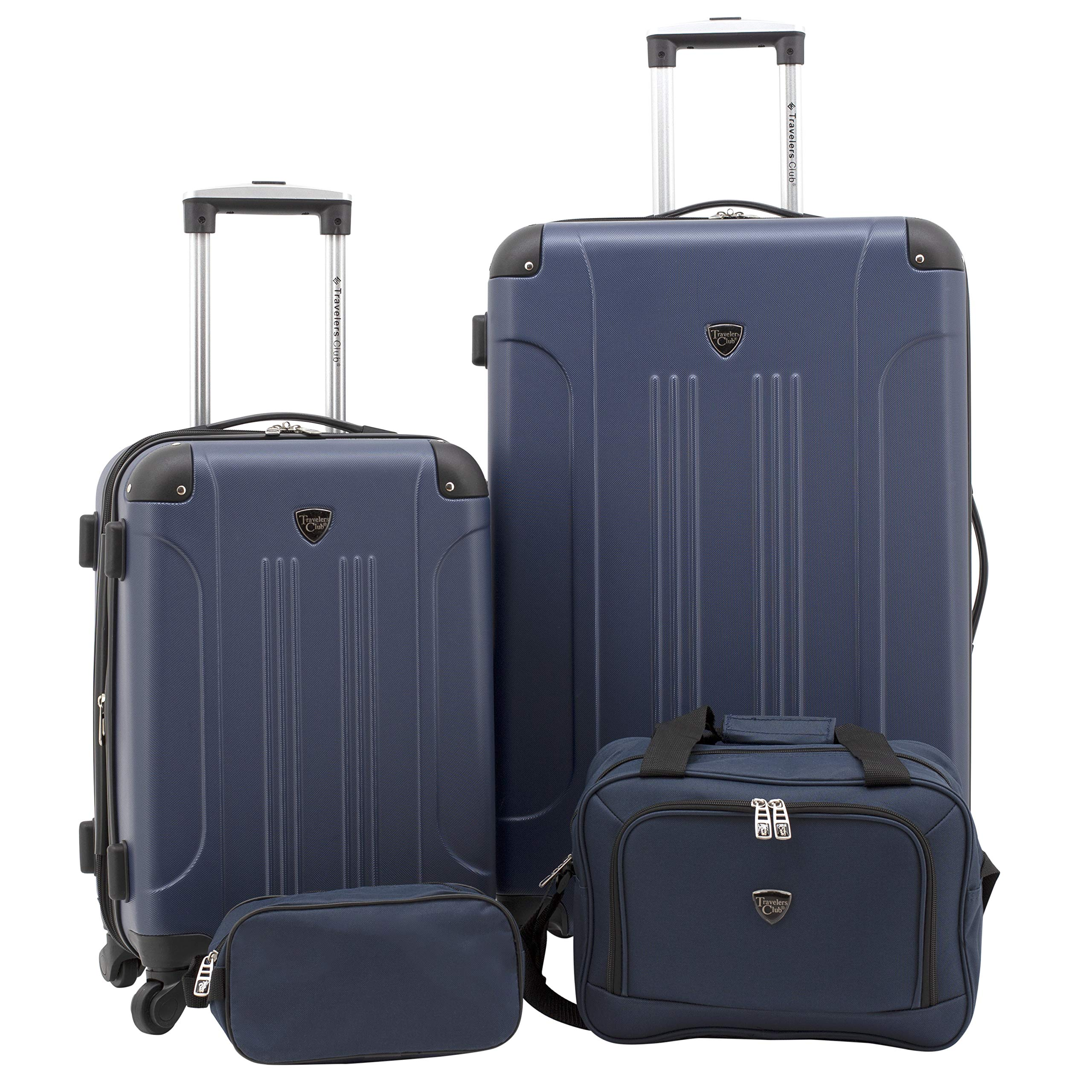 Travelers Club Luggage 4 PC Set, Navy Blue by Traveler's Club