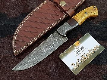 Amazon.com: 2as Knives - Cuchillo de caza de acero Damasco ...