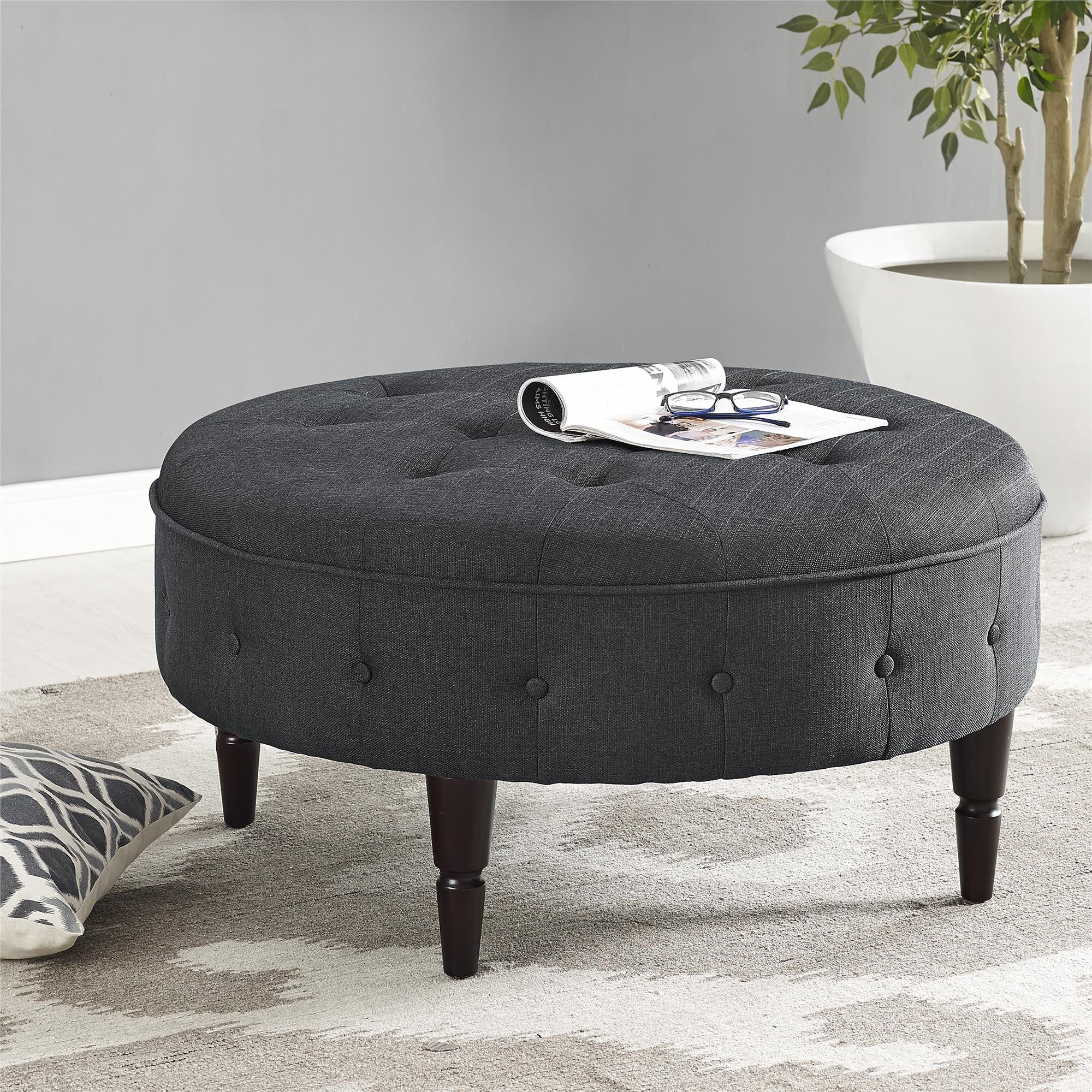 Dorel Living DL6993-CH Patty Round Ottoman, Charcoal by Dorel Living (Image #2)