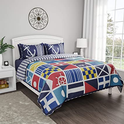 . Amazon com  3 Piece Blue Red Beach Theme Full Queen Quilt Set Yellow