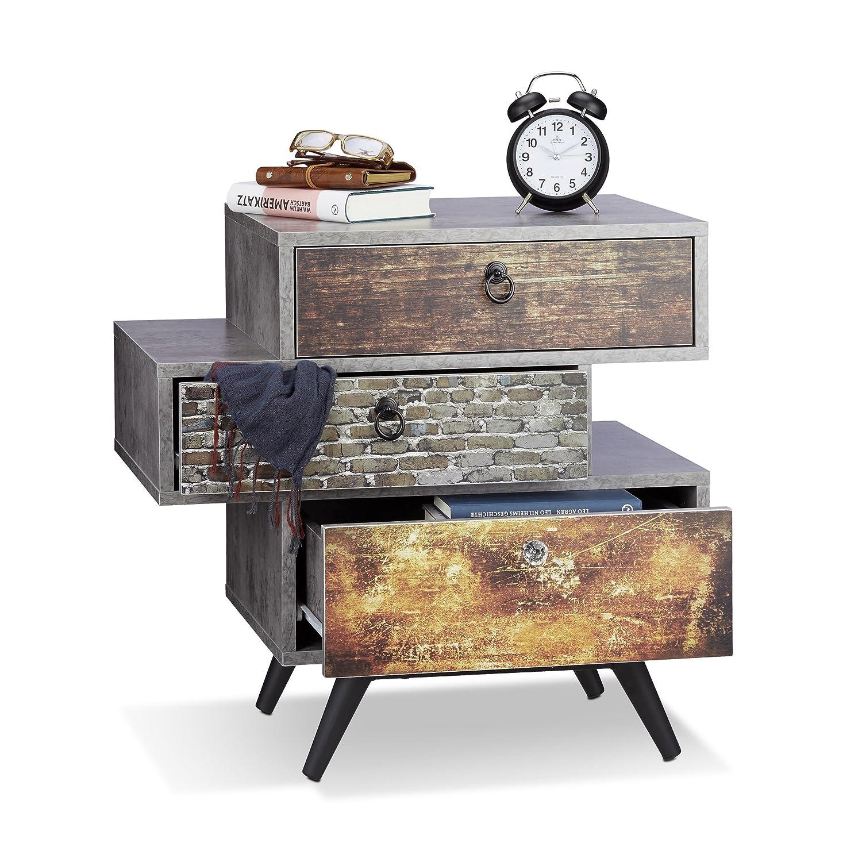 Relaxdays Vintage Kommode m. 3 Schubladen, Betonoptik Beistellschrank, Shabby Schublade m. Griff, HBT  60x60x40 cm, grau