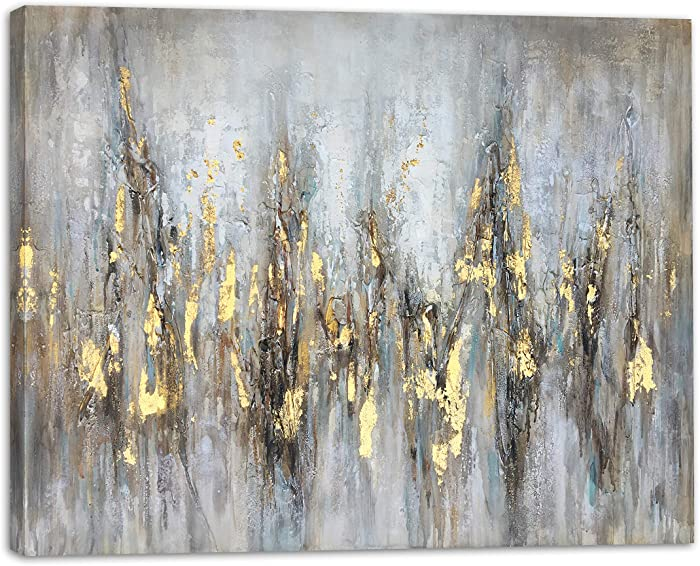 Bayland Collection Abstract Gleaming Wall Décor, Gold and Gray