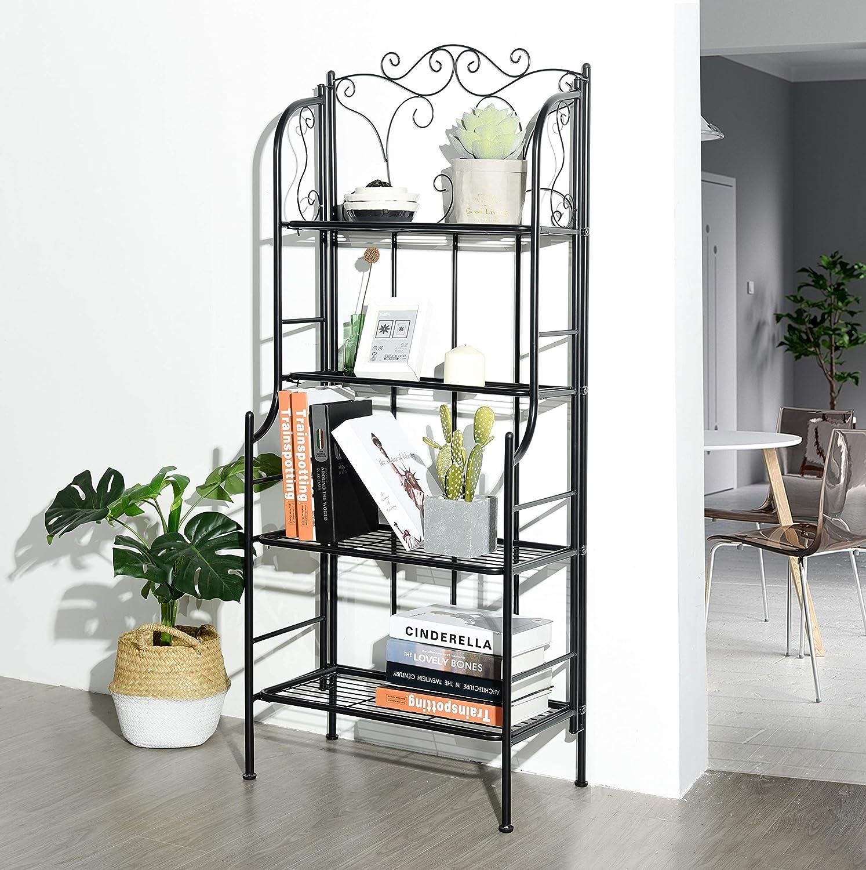eHomeProducts 4-tier Metal Frame Baker Rack Kitchen Cabinet Bookcase Bookshelf Bedroom Scroll Design