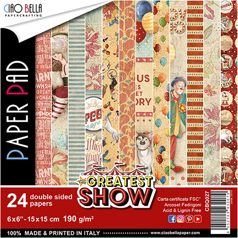 taille unique 12 Designs//2 chacun The Greatest Show CIAO BELLA PAPER 6X6 24//PK