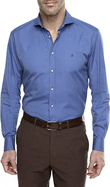 Caramelo, Camisa Regular con Cuello Cutaway, Hombre · Azul Oscuro, Talla XXS: Amazon.es: Ropa y accesorios