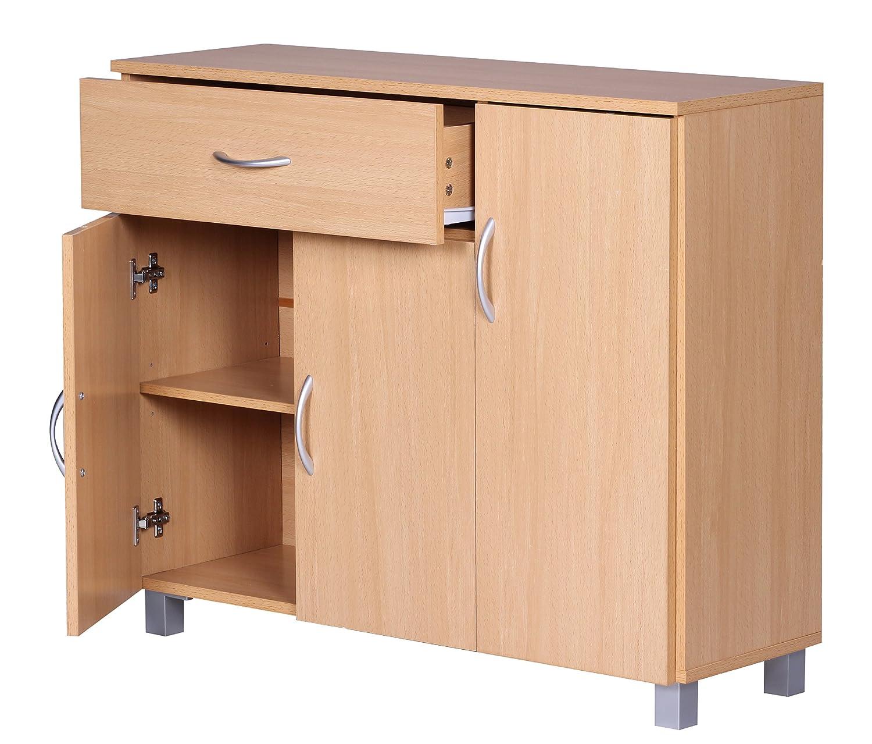 Verzauberkunst Sideboard Buche Weiß Sammlung Von Wohnling Jarry 1 Schublade 3 Türen Tief