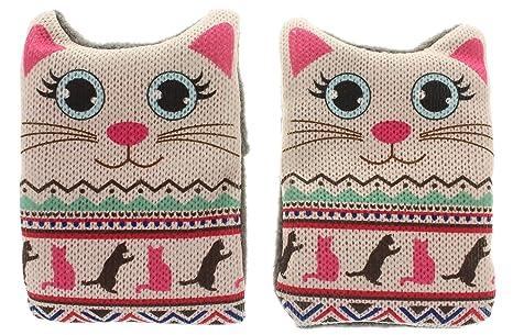 Calentador de manos, bolsillo Juego de 2 gatos de punto