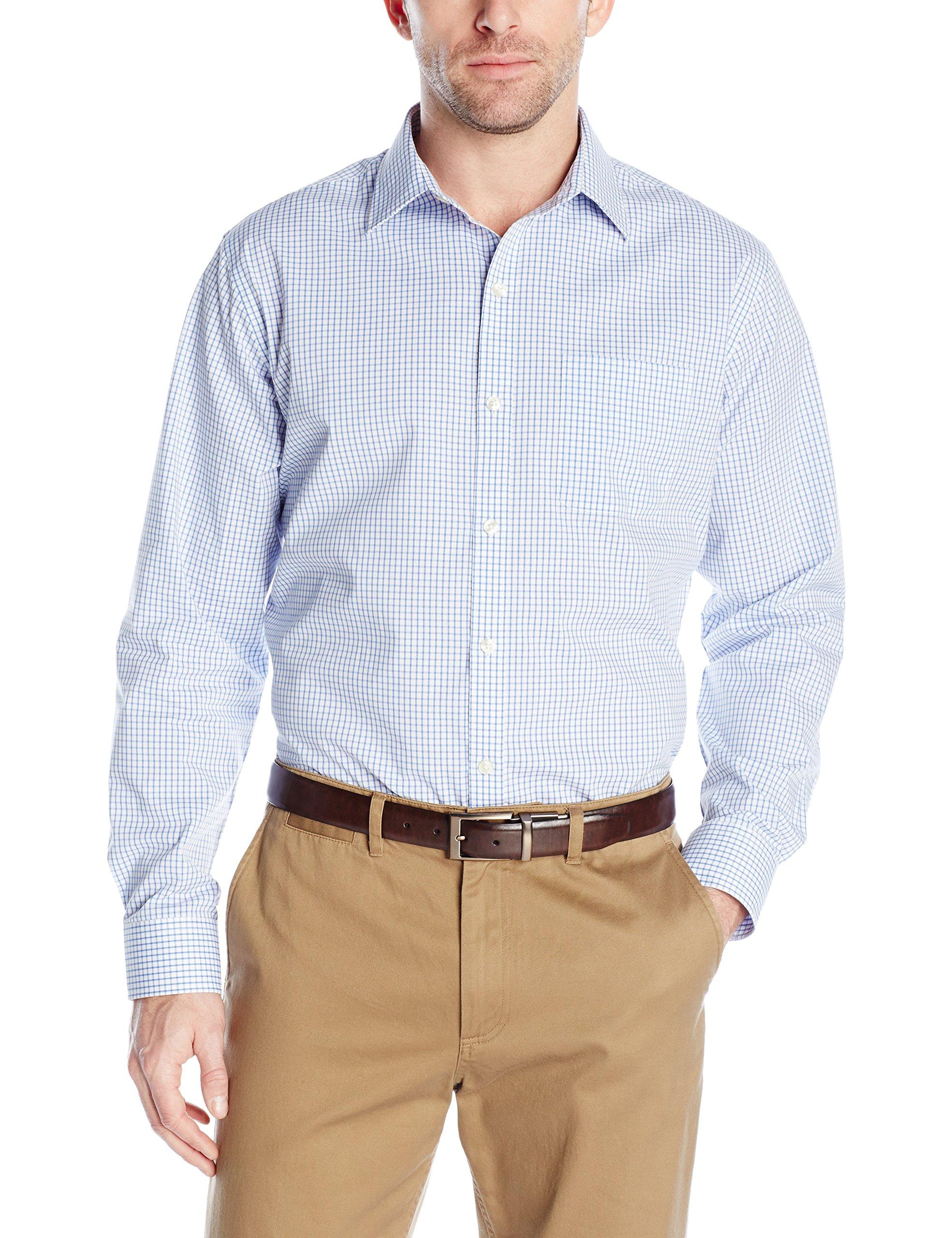Van Heusen Men's Long Sleeve Traveler Stretch Non Iron Shirt, Pure Blue Crisp, Small