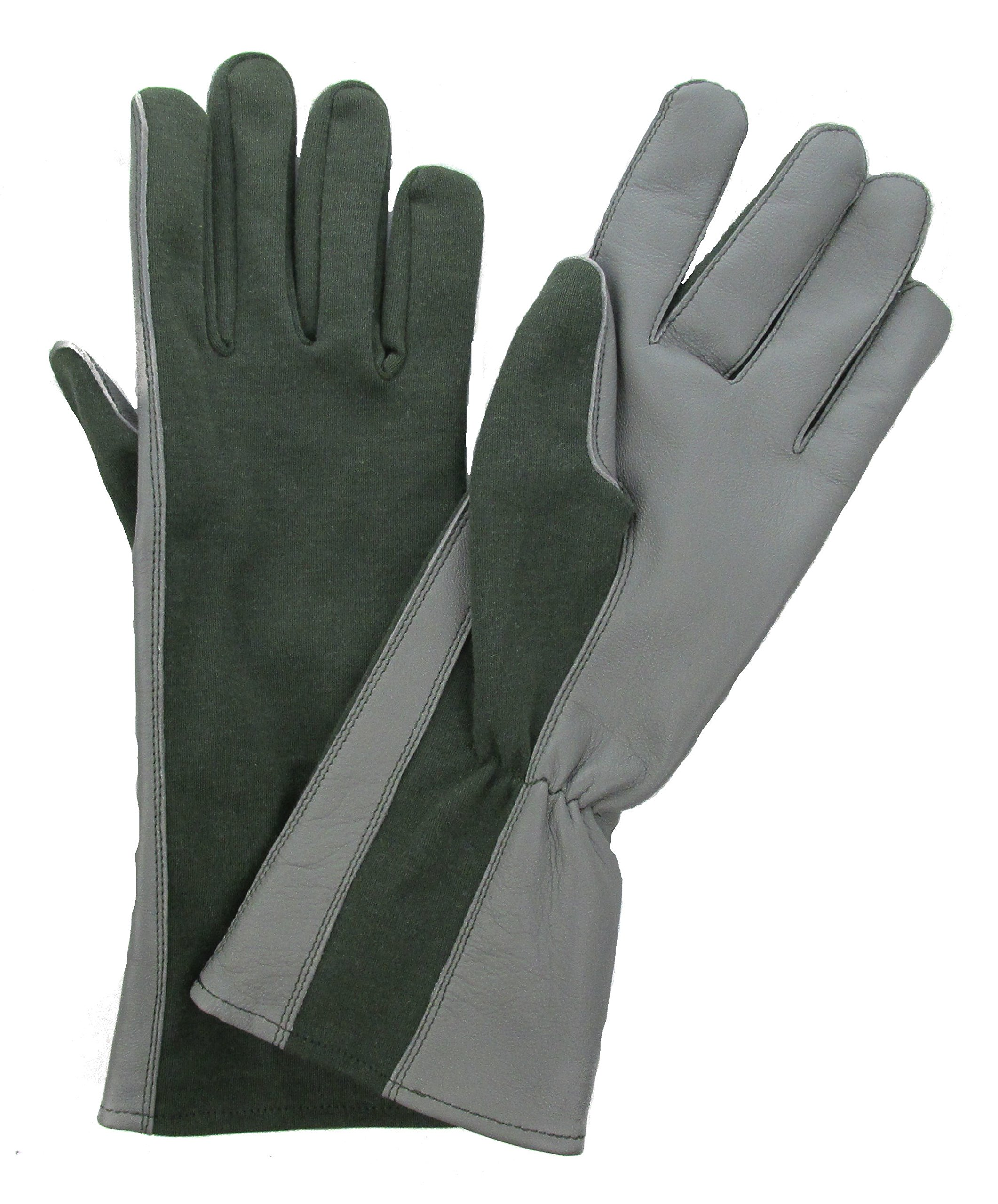 Military Uniform Supply Nomex Flight Gloves - Size Large (10) SAGE GREEN