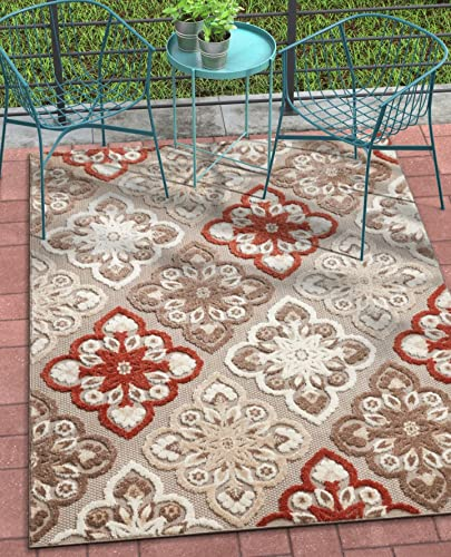 Well Woven Bodrum Red Indoor Outdoor Floral Panel Area Rug 8X11 7 10 X 9 10 High Traffic Stain Resistant Modern Traditional Carpet