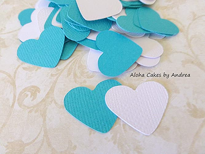 Amazon Heart Confetti 1 Pack Of 150 Tealturquoise And White