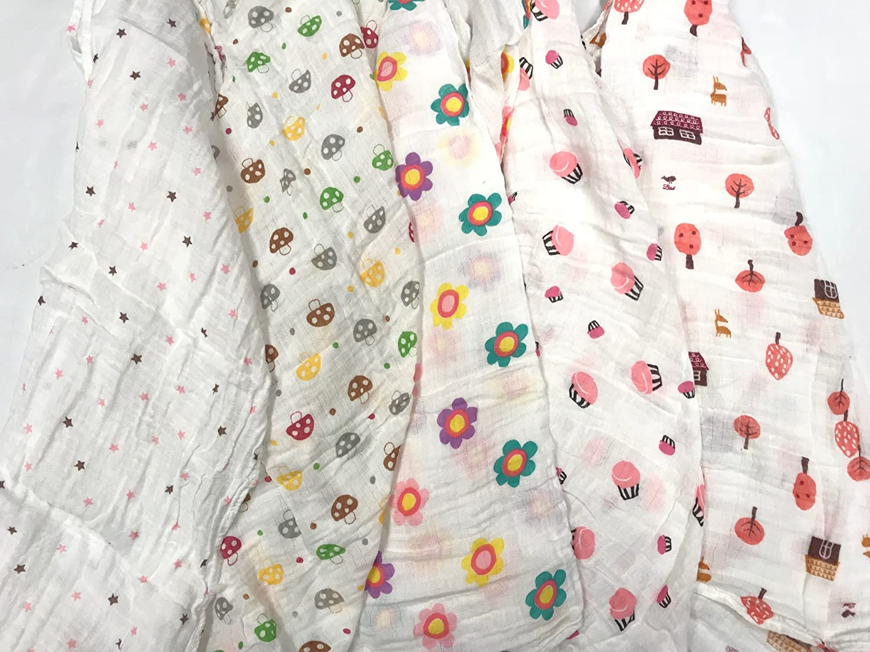 5pcs Cute GIRL Desgin Large 70cm x 70cm Muslin Squares Cloths 100% Cotton (5pcs Girl Colour) just4baby