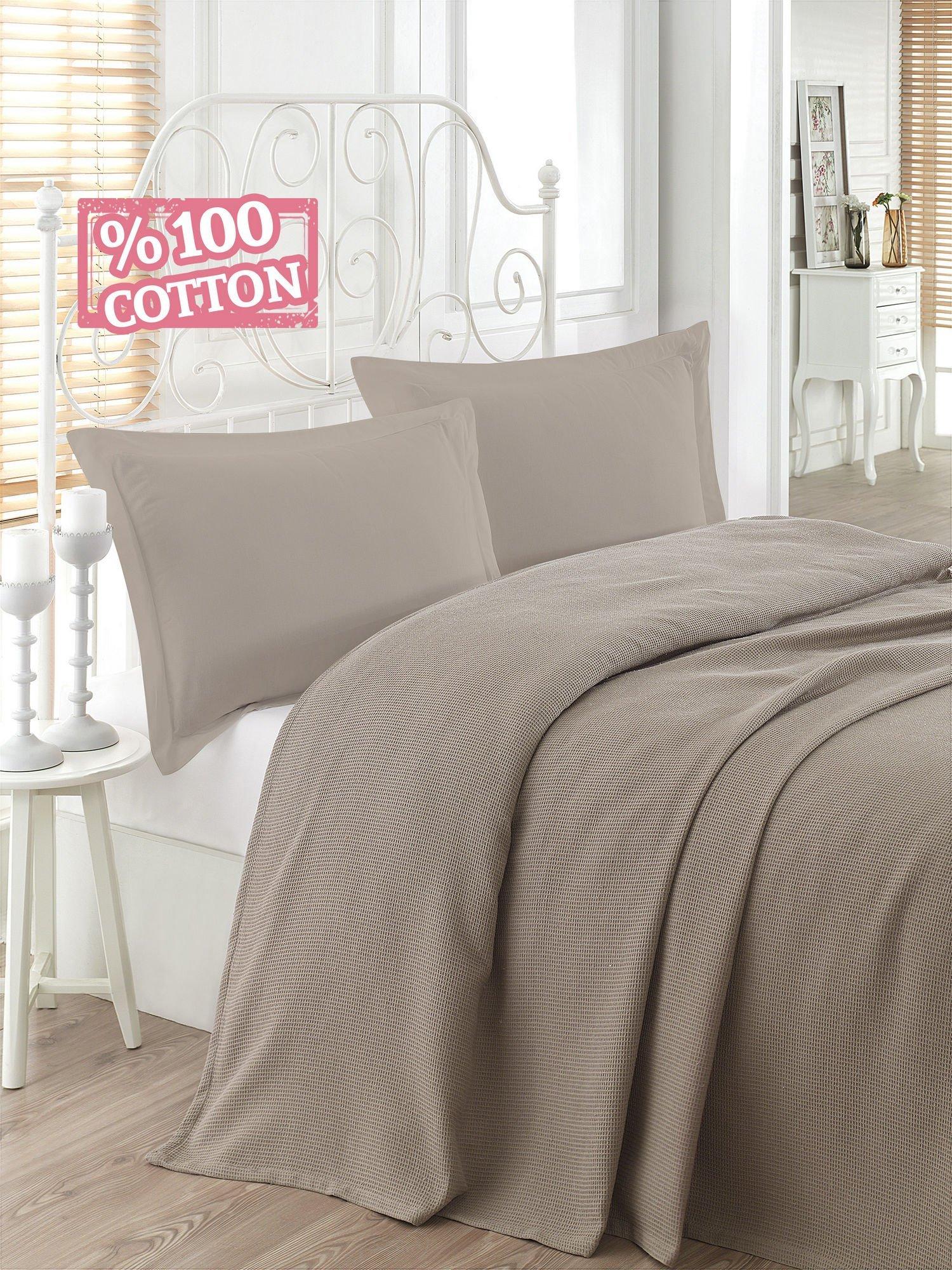 LaModaHome Colors Coverlet, 100% Cotton - Beige Color, Light Brown, Plain 1 Colored, Rough - Size (63'' x 90.6'') for Single Bed