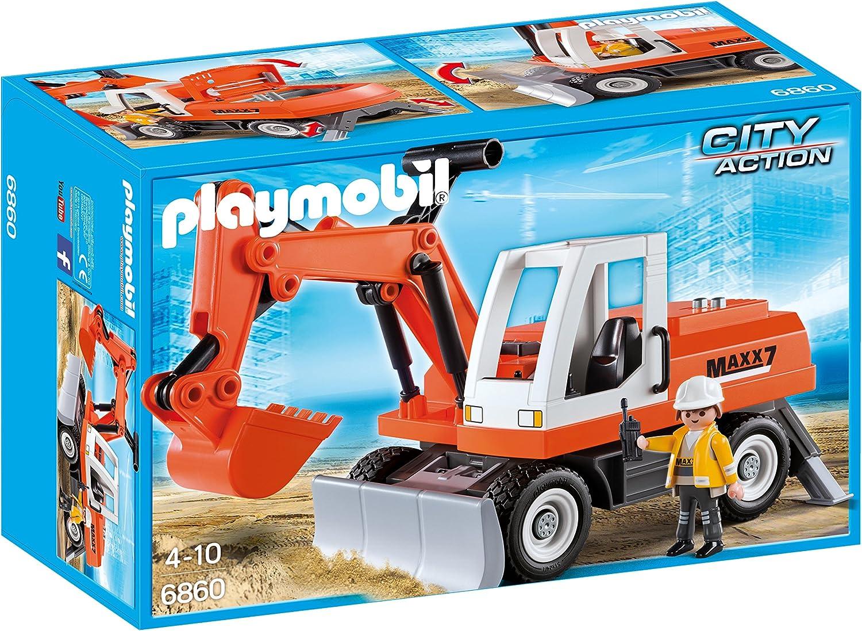 Playmobil Construcción- City Action Excavadora Vehículos de Juguete, Multicolor (6860)