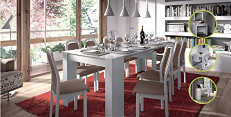 Lucia White MultiFunction Extending Console Dining Table 90 x 50