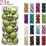 """KI Store 24ct Christmas Ball Ornaments Shatterproof Christmas Decorations Tree Balls Pastel for Holiday Wedding Party Decoration, Tree Ornaments Hooks included 2.36"""" (60mm Lime Green)"""