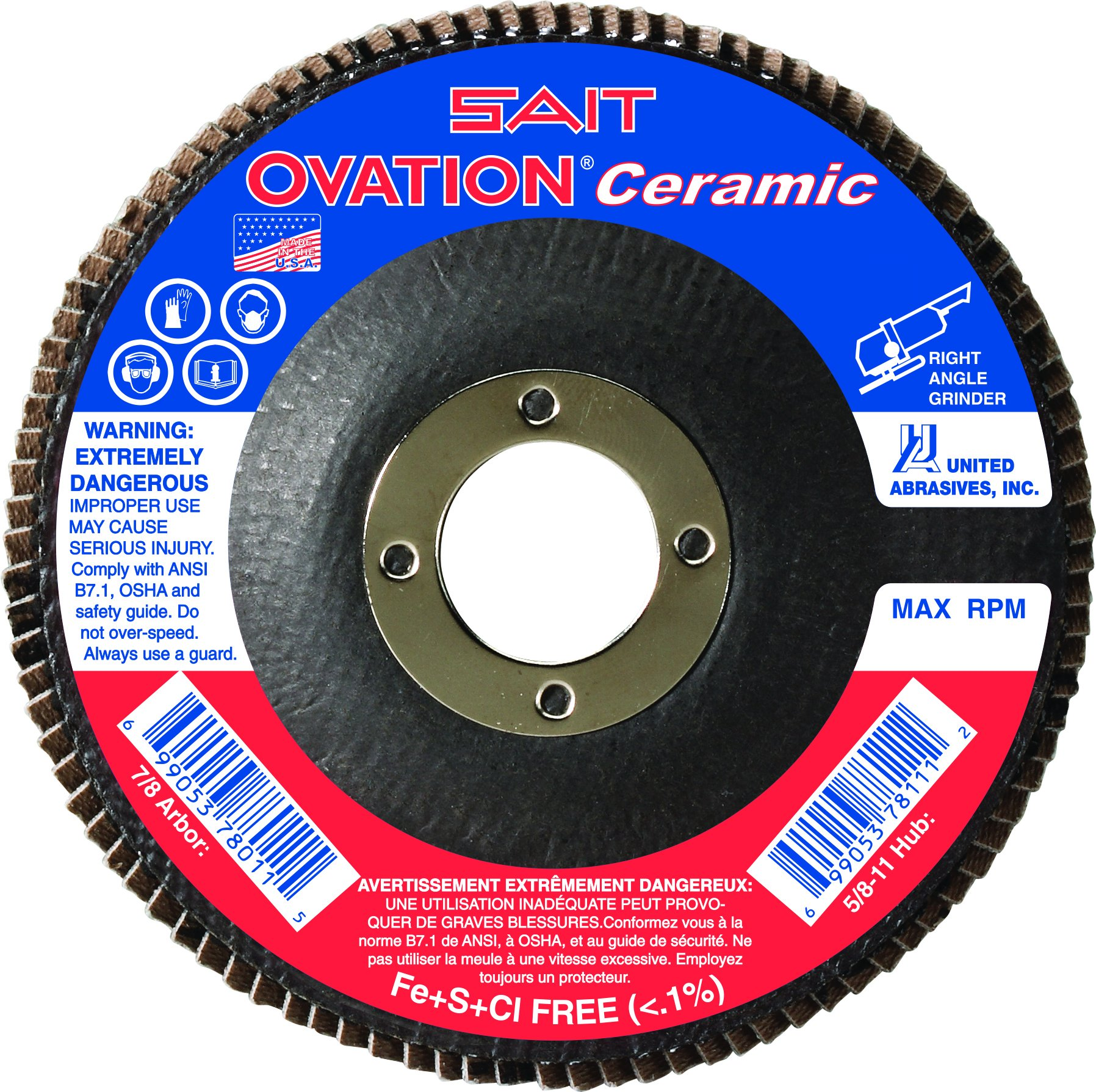 United Abrasives- SAIT 78262 Ovation Ceramic Flap Disc with 4-1/2-Inch Diameter and 7/8-Inch Arbor, 10-Piece