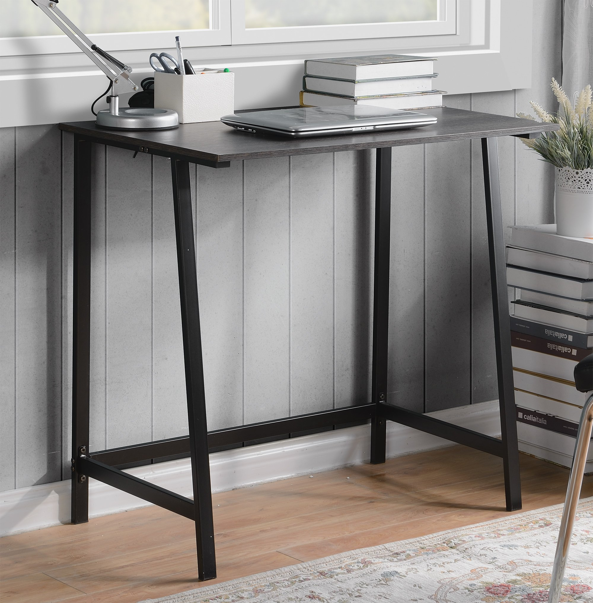 Homestar Oberon Writing Desk - Homestar writing desk in dark oak Finish, with a powder coated metal base that provides a strong & Sturdy design. Made of Particle Board and powder core metal Light weight and easy to assemble - writing-desks, living-room-furniture, living-room - 91zvFLuStRL -