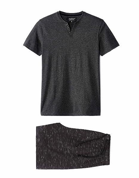 Celio LIPYSPACE, Conjuntos de Pijama para Hombre, Negro (Anthracite 107), Medium