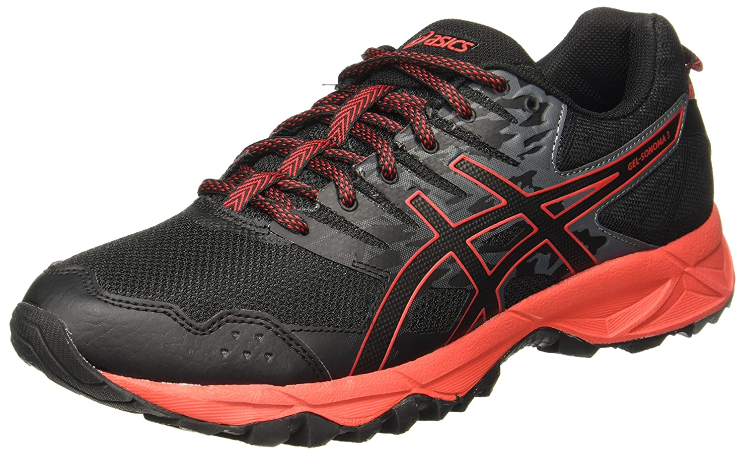 Asics Gel-Sonoma 3, Zapatillas de Running para Asfalto para Hombre 40 EU|Multicolor (Black/Fiery Red/Black 9023)