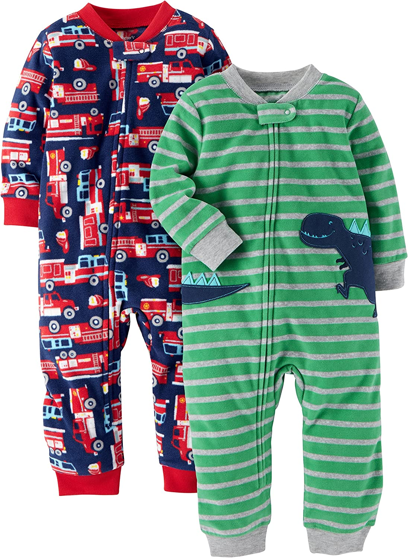 Carters Baby and Toddler Boys 2-Pack Fleece Footless Pajamas