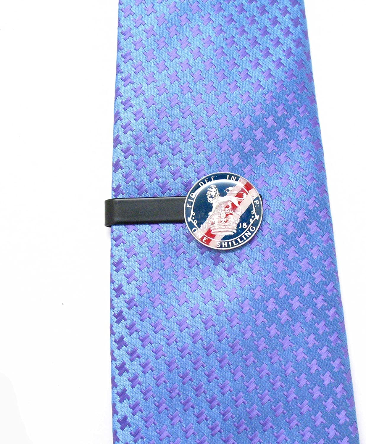 Silver British Shilling Tie Bar Clip Tiebar Tieclip Vintage Hand Painted Suit Style Flag Lion Crown